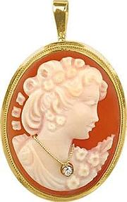 Woman With Diamond Necklace Cornelian Cameo Pendant  Pin