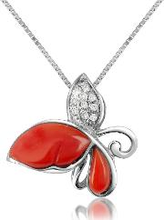 Diamond Gemstone Butterfly 18k Gold Pendant Necklace
