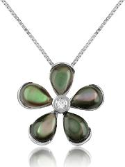 Diamond Gemstone Flower 18k Gold Pendant Necklace