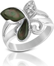 Del Gatto Rings, Diamond And Black Mother Of Pearl Butterfly 18k Gold Ring