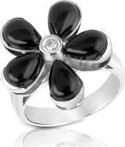 Diamond And Onyx Flower 18k Gold Ring
