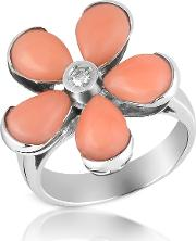 Diamond And Pink Coral Flower 18k Gold Ring