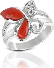 Del Gatto Rings, Diamond And Red Coral Butterfly 18k Gold Ring