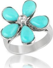 Del Gatto Rings, Diamond And Turquoise Flower 18k Gold Ring