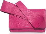 Fuxia Leather Orchid Clutch
