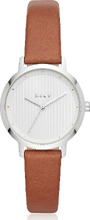 The Modernist Silver Tone And Brown Leather Women's Watch