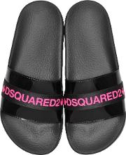 Black And Neon Pink Tape Women's Flip Flop Pool Sandals