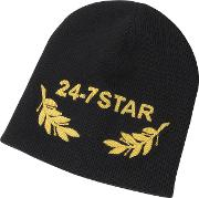 24 7 Star Icon Black Wool Beanie