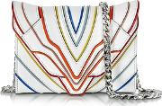 Felina Mignon White Multilines Leather Clutch