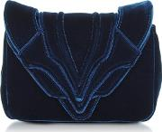 Navy Blue Velvet Felix Clutch