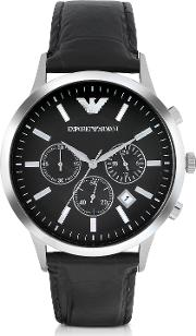 Emporio Armani Men's Watches, Stainless Steel Chronograph Watch Wembossed Leather Strap