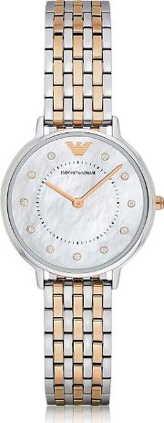 Emporio Armani Women's Watches, Kappa Two Tone Stainless Steel Women's Quartz Watch Wmother Of Pearl Dial