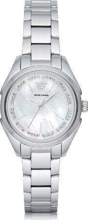 Emporio Armani Women's Watches, Stainless Steel Women's Quartz Watch Wmother Of Pearl Signature Dial