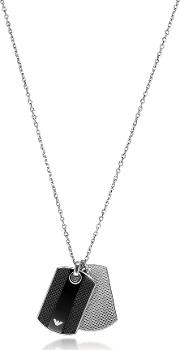 Iconic Black And Silver Stainless Steel Charm Men's Necklace