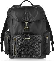 Black Nylon And Woven Leather Backpack