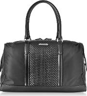 Black Nylon And Woven Leather Holdall