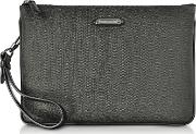 Slate Coated Canvas And Leather Men's Clutch
