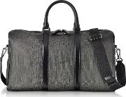 Slate Coated Canvas And Leather Men's Weekender Bag