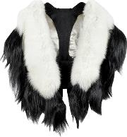 Fearfur Outerwear & Furs, Bad Black Kite White And Black Fur Stole