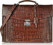 Brown Croc Embossed Leather Briefcase