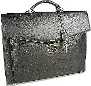 Fontanelli Briefcases, Black Ostrich Stamped Calf Leather Briefcase
