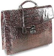 Fontanelli Briefcases, Brown Croc Embossed Leather Briefcase