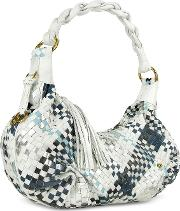 Fontanelli Handbags, Blue & White Woven Leather Eastwest Hobo Bag