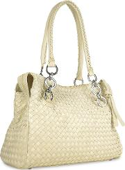 Ivory Woven Italian Suede & Leather Satchel Bag