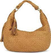 Fontanelli Handbags, Tan Washed Woven Leather Gusset Hobo Bag