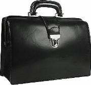 Forzieri Briefcases, Black Italian Leather Buckled Compact Doctor Bag