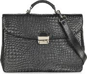 Black Woven Leather Briefcase