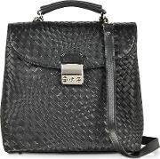Black Woven Leather Vertical Messenger