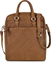 Forzieri Briefcases, Brown Woven Suede Vertical Messenger Bag