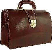Dark Brown Italian Leather Buckled Compact Doctor Bag