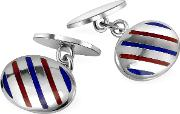 Oval Striped Sterling Silver Double Sided Cufflinks