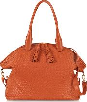 Orange Woven Leather Bowler Bag