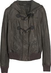 Brown Hooded Leather Jacket
