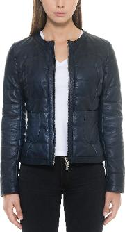 Dark Blue Quilted Leather Women's Jacket