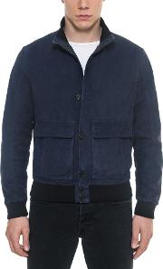 Midnight Blue Suede Men's Bomber Jacket