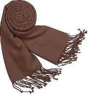 Forzieri Long Scarves, Solid Pure Pashmina Fringed Shawl