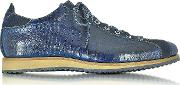 Forzieri Shoes, Italian Handcrafted Indigo Blue Suede & Croco Print Leather Sneaker