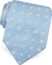 Forzieri Ties, Gold Line Rounded Flower Dots Woven Silk Tie