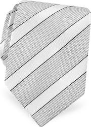 Gold Line Silver And Ivory Bands Woven Silk Tie