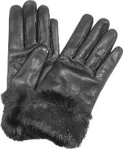 Forzieri Women's Gloves, Black Cashmere Lined Italian Leather Gloves With Fur