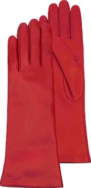 Red Leather Women's Long Gloves Wcashmere Lining