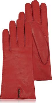 Forzieri Women's Gloves, Women's Cashmere Lined Red Italian Leather Gloves
