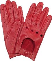 Women's Red Perforated Italian Leather Driving Gloves
