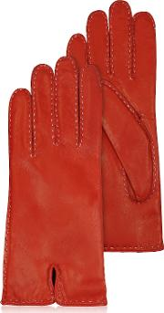 Women's Stitched Cashmere Lined Red Italian Leather Gloves