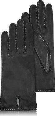 Women's Stitched Silk Lined Black Italian Leather Gloves