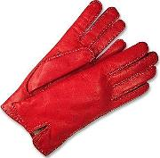 Forzieri Women's Gloves, Women's Stitched Silk Lined Red Italian Leather Gloves